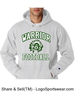Warrior Football Hoodie - Adult Design Zoom